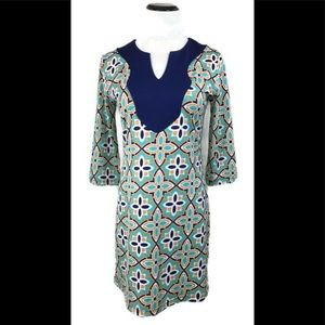 Tracy Negoshian Blue & Green Floral Tunic Dress